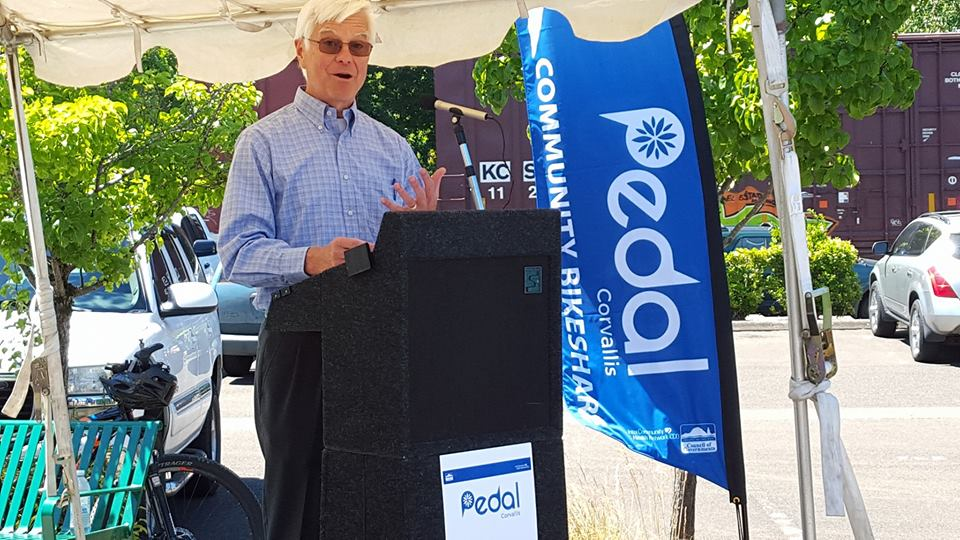 Pedal Corvallis Launch - Mayor Traber