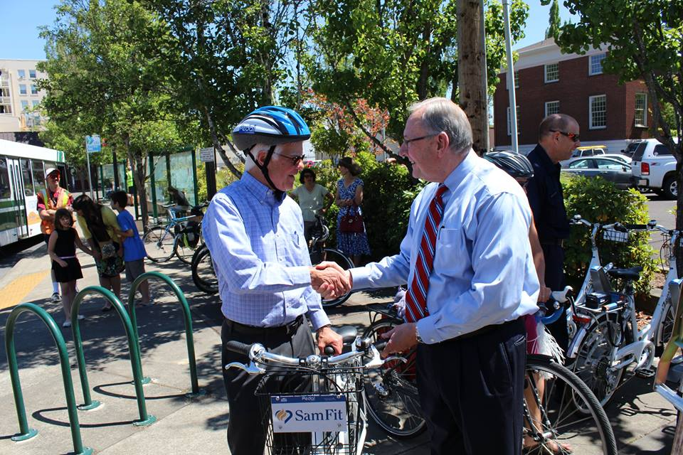 Pedal Corvallis Ribbon Cutting Ceremony - Dr. Mullins and Mayor Traber